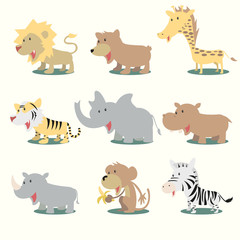 Wild animals, vector illustration set collection
