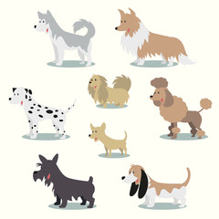 Dogs vector illustration set collection
