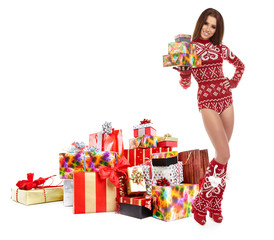 Winter woman with christmas gifts
