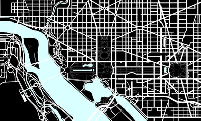 Washington DC black and white map