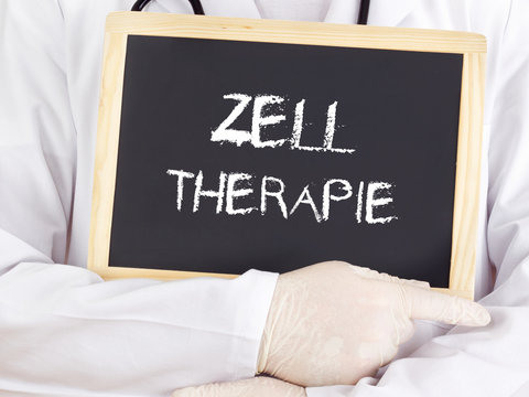 Doctor shows information: cell therapy in german language