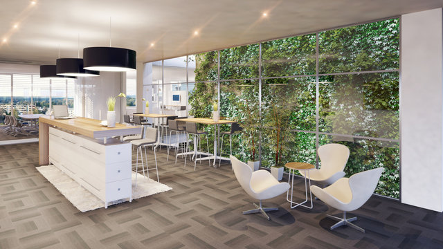 office lounge with vertical garden