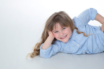 blond and nice kid with joyful expression