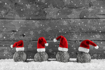 Frohe Weihnachten: Weihnachtlicher Holz Hintergrund mit Rot Wall mural