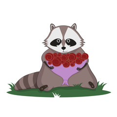 Raccoon and bouquet of roses