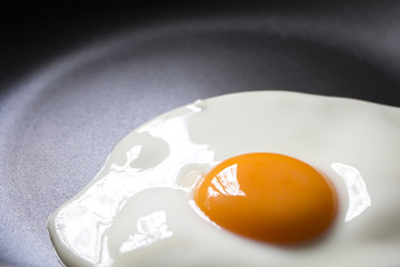 Printed kitchen splashbacks Egg close up Fried egg on frying pan