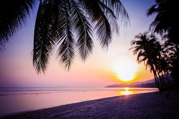 Beautiful sunset over the tropical beach