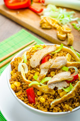 Chicken curry rice with crispy chinese omellete