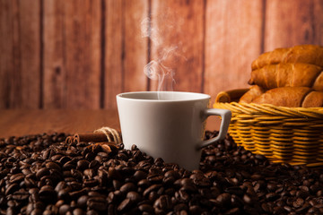 coffee still life on a wood background