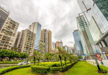 MACAU - MAY 10, 2014: Buildings of Macau on a cloudy day. Macau