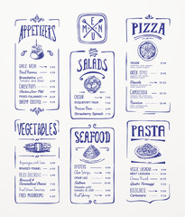 Menu template. Blue pen drawing