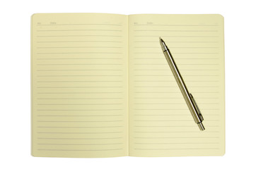 blank notebook and pencil isolated on white background