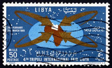 Postage stamp Libya 1965 Map of Africa with Libya