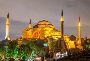 Night aerial view of Hagia Sophia, Istanbul