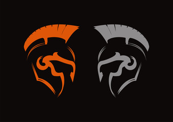 Spartan antiques roman helmets war vector logo design vector
