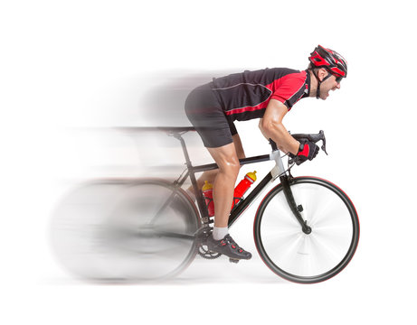 cyclist sprints on a bike isolated on white background