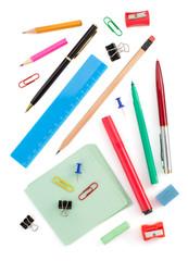 school supplies on white