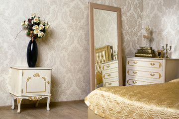 cozy stylish vintage corner of the ivory bedroom