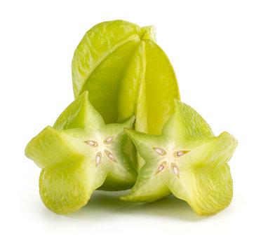 Fresh green Star fruit - Carambola, sliced, isolated on white ba