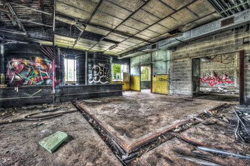 Dilapidated workshop in an abandoned factory
