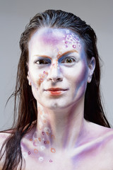 Portrait of a Woman with Sci fi Makeup