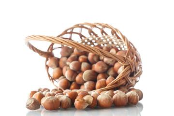 hazelnuts in a wicker basket