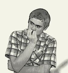 Sketch Teen boy body language - Nervous biting nails
