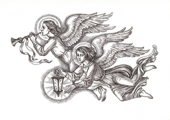 """Рисунок из серии """"Рождественские ангелы"""". Вариант 1."""