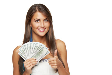 Woman with us dollar money