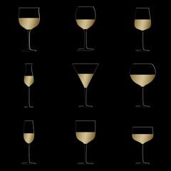 wine glasses black background