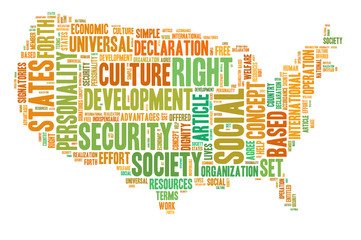 Social security in USA concept with tag cloud