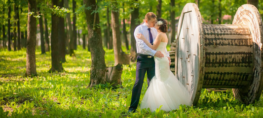 beautiful newlyweds in wedding day in the woods