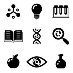Science education research study web icons set isolated