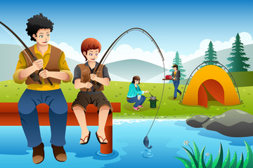 Family going fishing on a camping trip