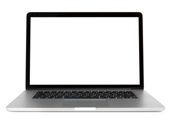 Modern laptop isolated on white background. Front view