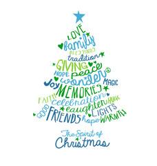 Christmas Card Word Cloud tree design