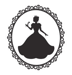 silhouette of a princess in a magnificent dress in a retro frame