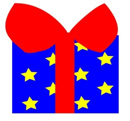 blue present box with red ribbon yellow stars