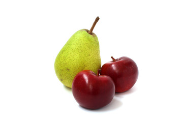 Two red apples and pear