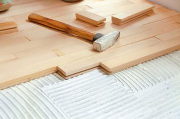 Obraz Wood Flooring Installation - fototapety do salonu