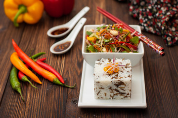 Thai salad of peppers, peanuts and cucumber