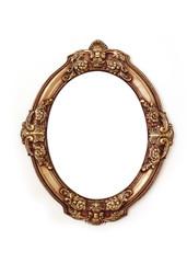 golden round frame isolated on white background