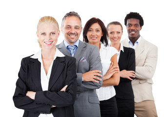 Businesspeople Standing Arms Crossed Over White Background