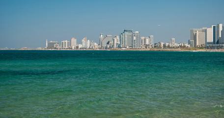 View of  embankment of Tel Aviv and Mediterranean Sea