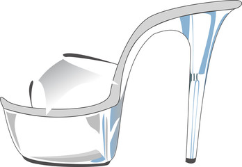 Sexy clear plastic high-heeled shoe, isolated