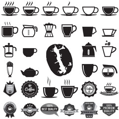 Coffee icons, badge, sticker