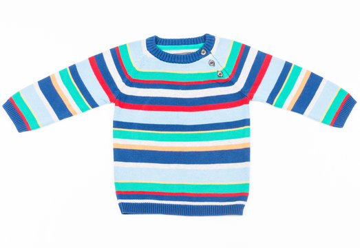Kids striped sweater isolated on white horizontal