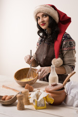 Woman cooking Christmas cookies