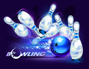 Bowling game over blue