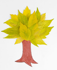 Autumn leaves with painted tree isolated on white